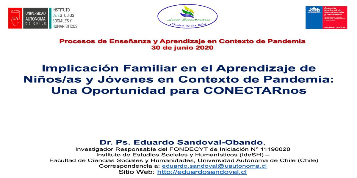 Investigador de la Autónoma participa como expositor en webinar organizado por Liceo Bicentenario de la Región de Los Ríos