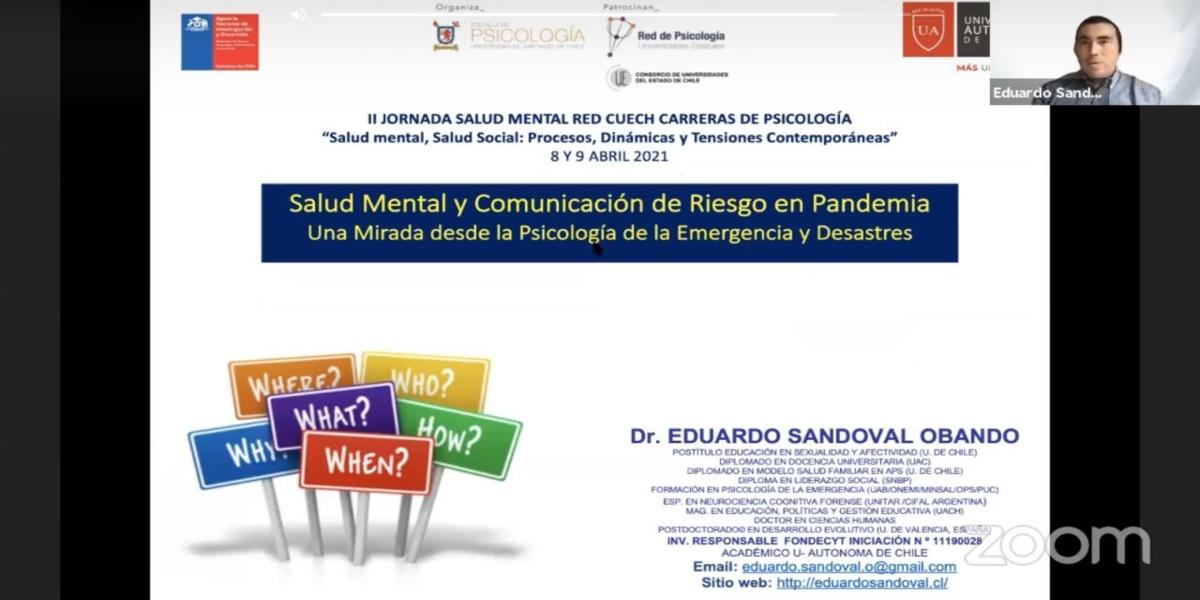 Investigador de la U. Autónoma participa como Expositor en II Jornadas Salud Mental del CUECH